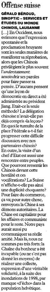 Lettre de lecteur - Le Temps - 30 mars 1999
