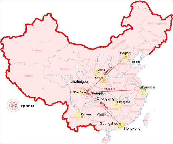 Carte tremblement de terre - Sichuan - 12 mai 2008