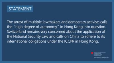 Hongkong - Prise de position du 7 janvier 2021