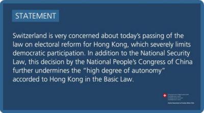 Prise de position sur Hongkong - 11 mars 2021 - EN